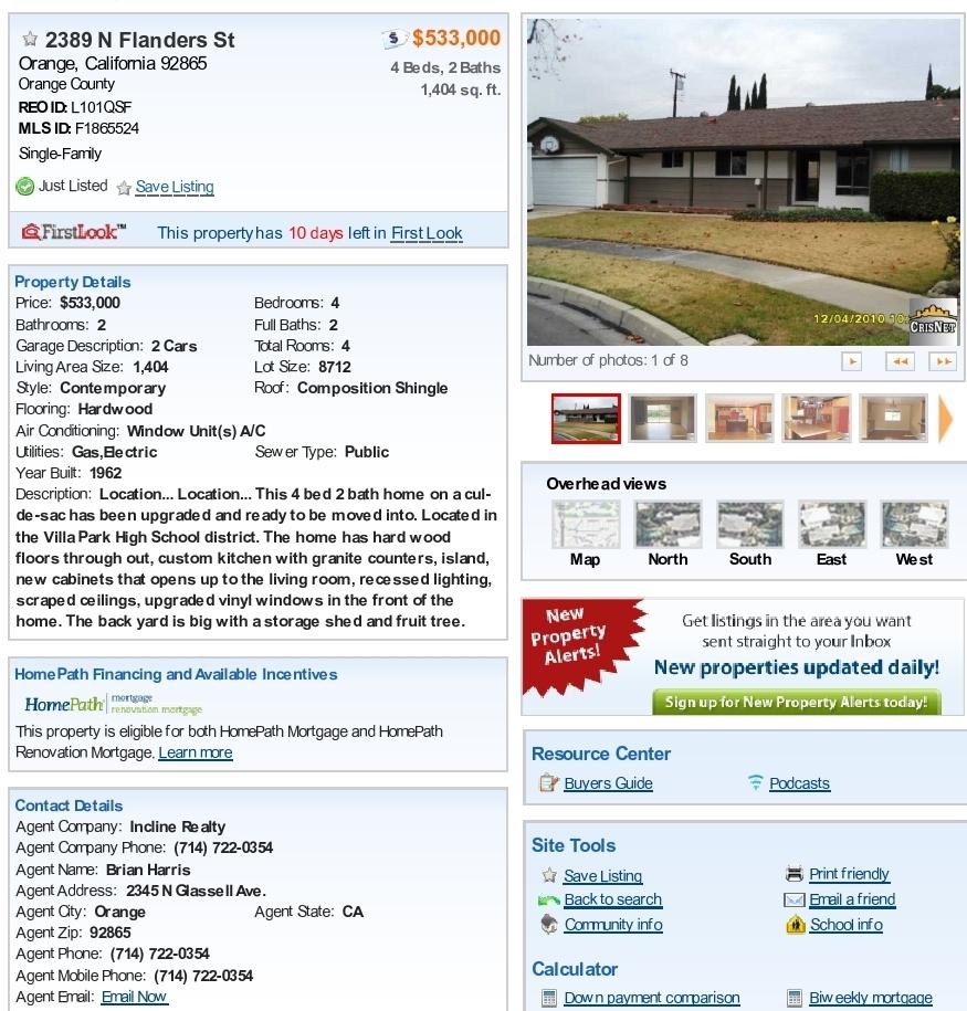 Fannie Mae Homepath Properties 4 Bedroom Home In Orange Ca Is