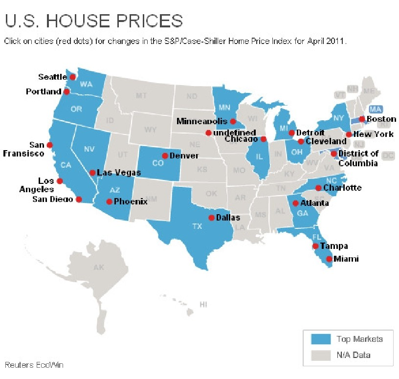 US Housing Prices SPCaseShiller Home Price Index For Major